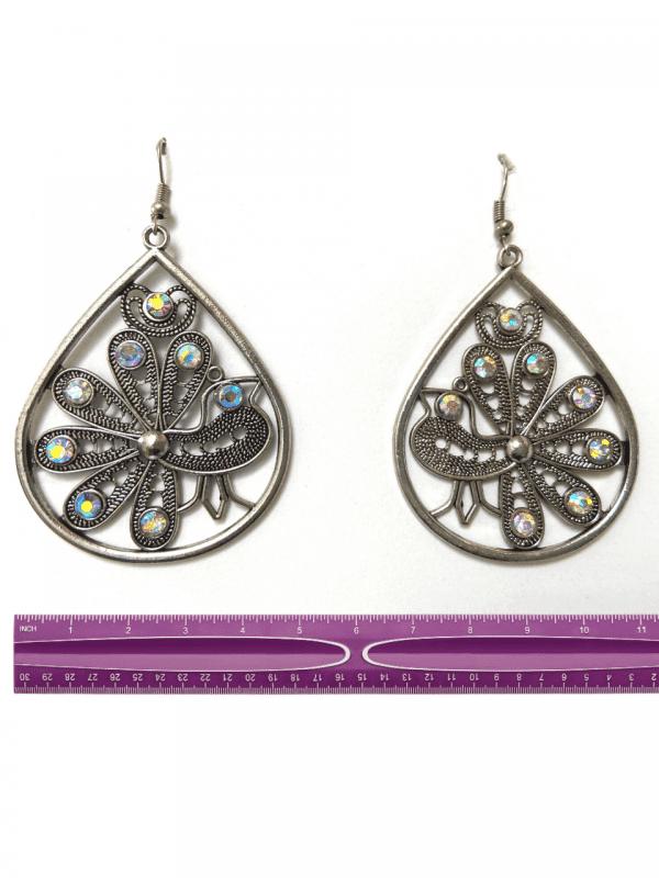 silver peacock earings