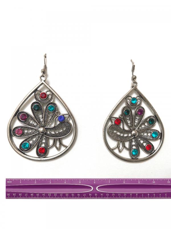 peacock earrngs bronze